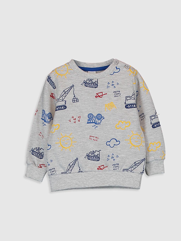 Lacivert Erkek Bebek Baskılı Sweatshirt 0SR443Z1 LC Waikiki