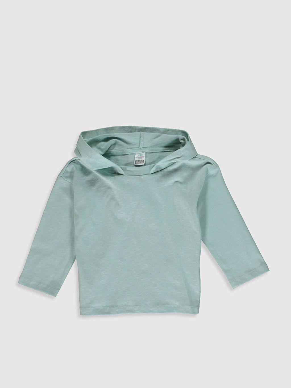 Yeşil Erkek Bebek Kapüşonlu Basic Tişört 0SR584Z1 LC Waikiki