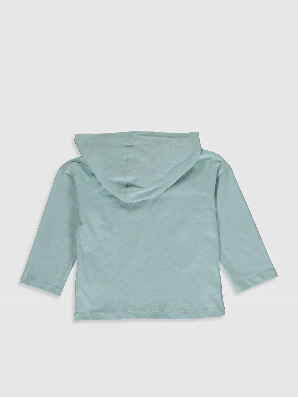 %100 Pamuk Düz Uzun Kol Tişört Kapüşonlu Erkek Bebek Kapüşonlu Basic Tişört