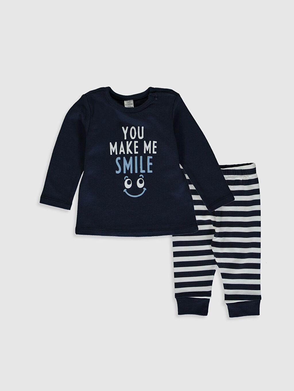 Lacivert Erkek Bebek Baskılı Pijama Takımı 0SS374Z1 LC Waikiki