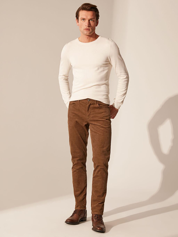 %98 Pamuk %2 Elastan Dar Normal Bel Pilesiz Pantolon Slim Fit Kadife Pantolon