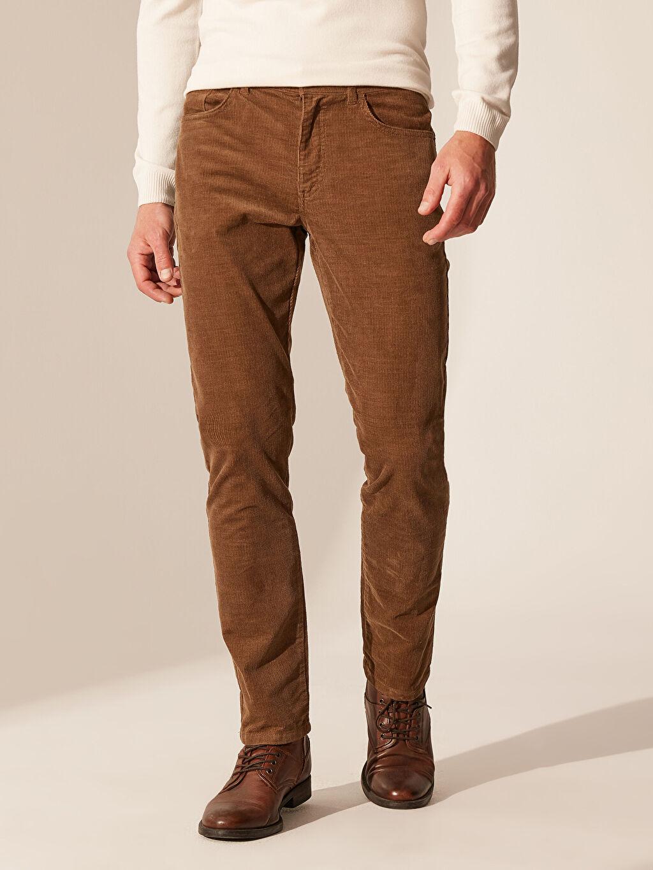 Erkek Slim Fit Kadife Pantolon
