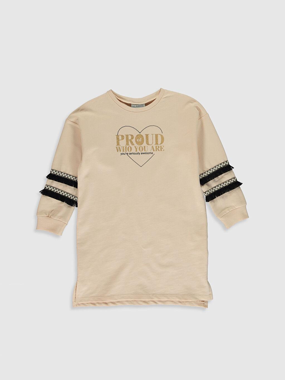 Pembe Kız Çocuk Baskılı Sweatshirt Elbise 0W0340Z4 LC Waikiki