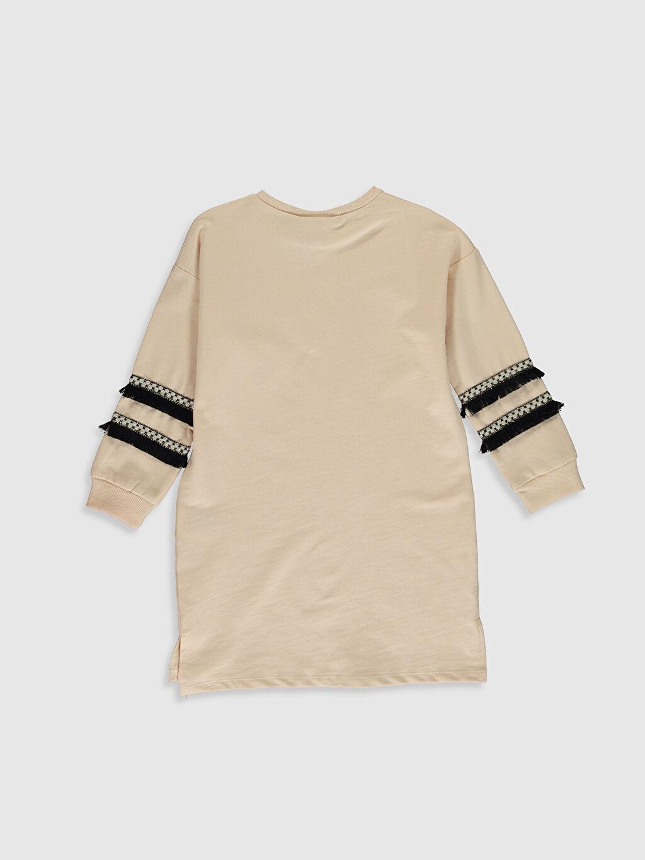 %100 Pamuk Diz Üstü Desenli Kız Çocuk Baskılı Sweatshirt Elbise