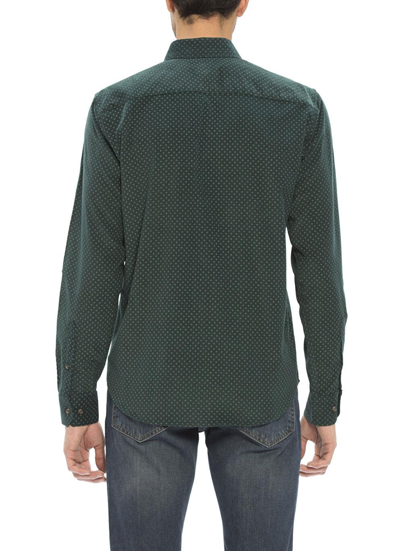 %100 Pamuk Uzun Kol Düğmeli Gömlek Yaka Gömlek Kadife Standart Baskılı Yeşil Normal Uzun Kollu Gömlek