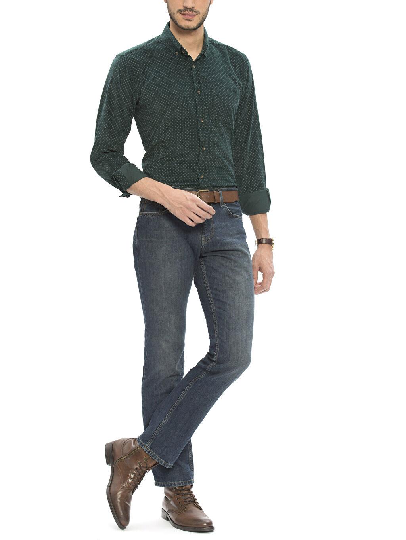 Erkek Yeşil Normal Uzun Kollu Gömlek