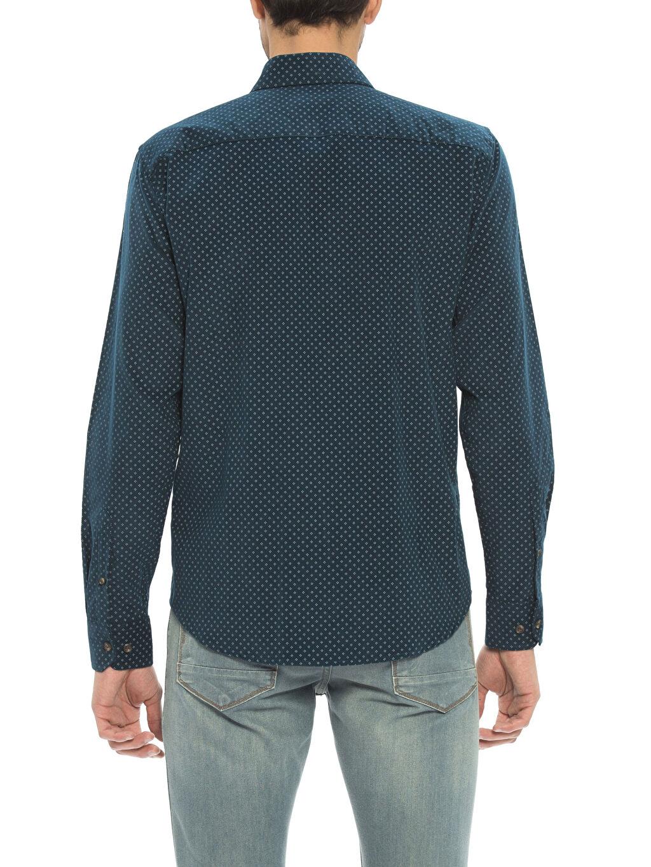Uzun Kol Düğmeli Gömlek Yaka Gömlek Kadife Standart Baskılı Petrol Normal Uzun Kollu Gömlek