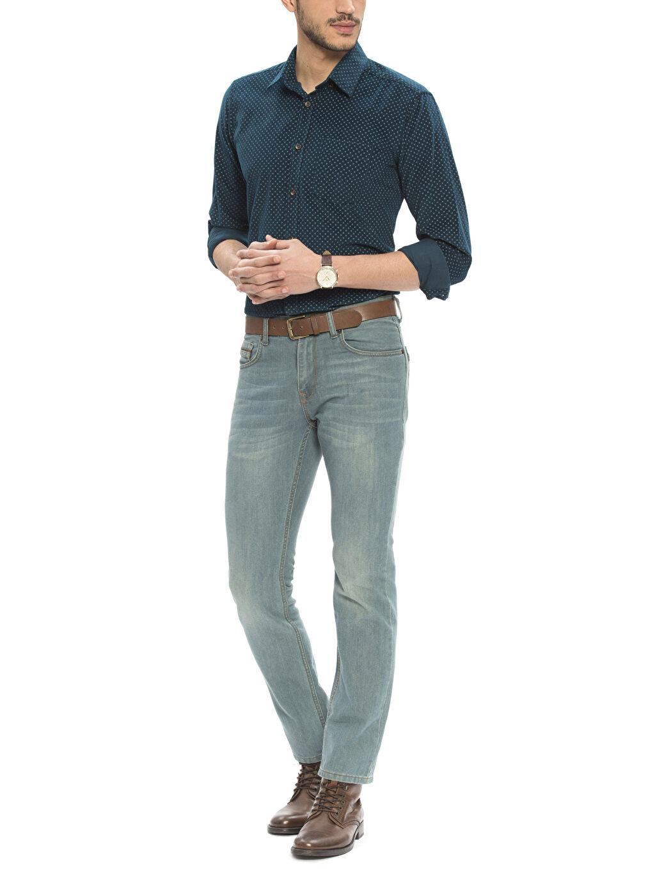 Erkek Petrol Normal Uzun Kollu Gömlek