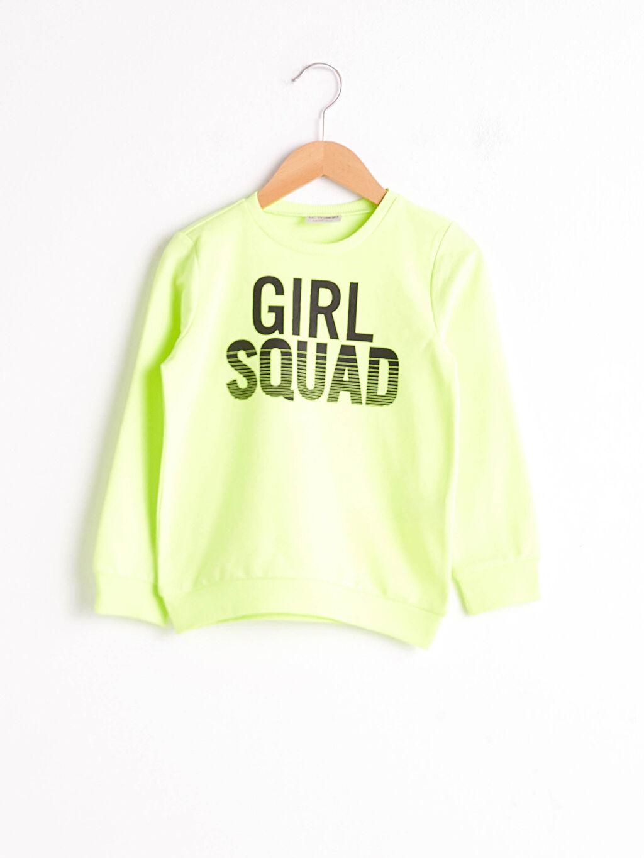 Yeşil Kız Çocuk Yazı Baskılı Sweatshirt 8WO827Z4 LC Waikiki