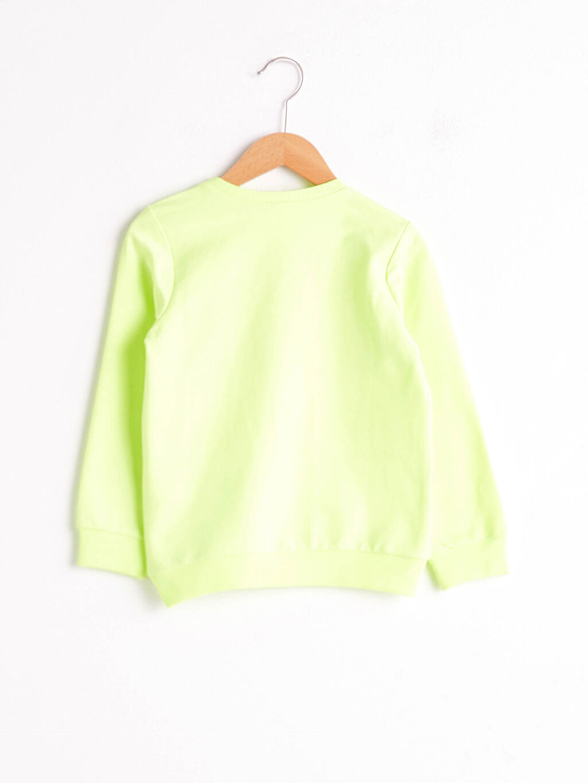 %49 Pamuk %51 Polyester Sweatshirt Kumaşı Sweatshirt Baskılı Bisiklet Yaka Uzun Kol Kız Çocuk Yazı Baskılı Sweatshirt