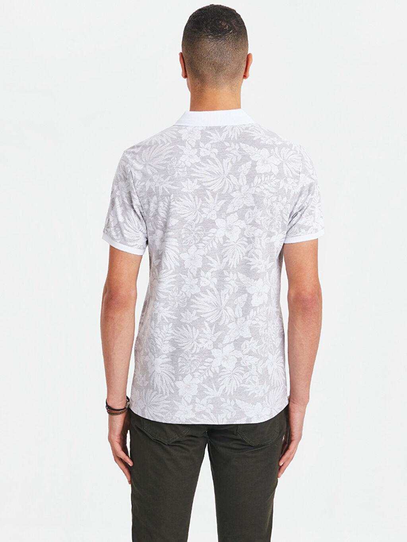 Erkek Çiçek Baskılı Polo Yaka Kısa Kollu Pamuklu Tişört
