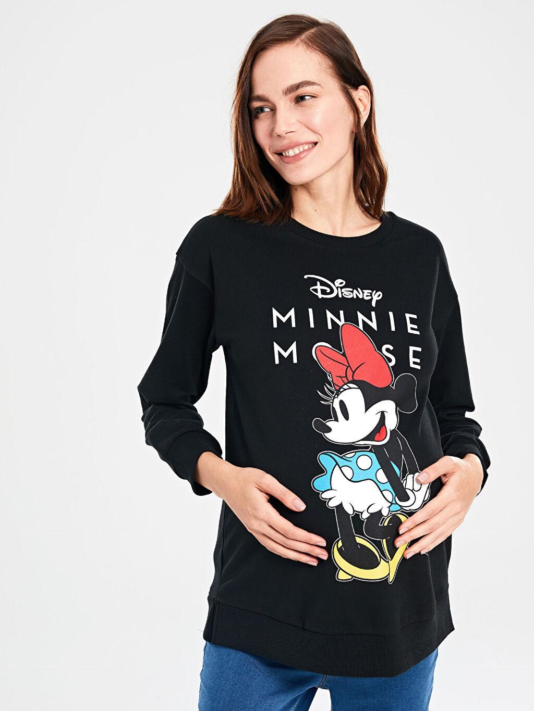 %51 Pamuk %49 Polyester Bisiklet Yaka Günlük Uzun Kol Düz İki İplik İçi Tüylü Basen Altı A Kesim Sweatshirt Kalın Mickey Mouse Baskılı Hamile Sweatshirt