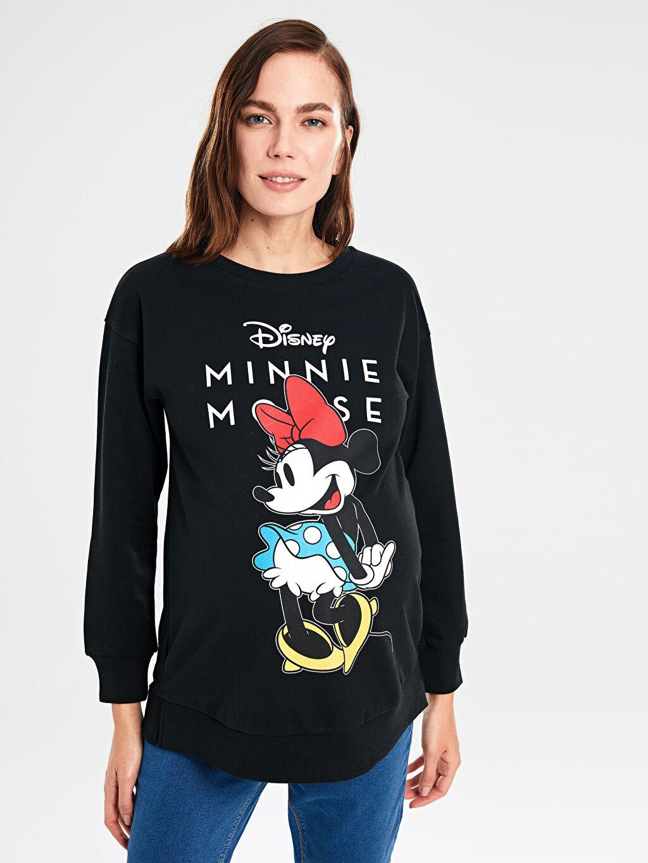 Kadın Mickey Mouse Baskılı Hamile Sweatshirt