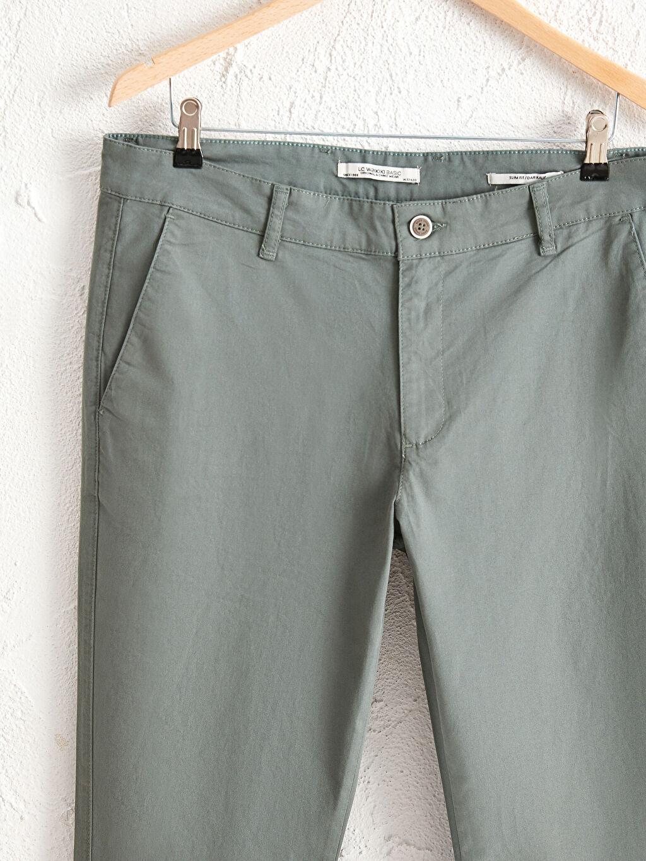 Yeşil Slim Fit Gabardin Chino Pantolon