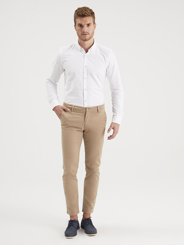 Bej Slim Fit Gabardin Chino Pantolon 0S1740Z8 LC Waikiki
