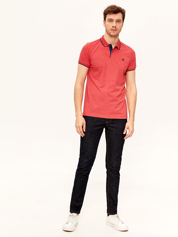 %48 Pamuk %52 Polyester Polo Yaka Basic Kısa Kollu Pike Tişört