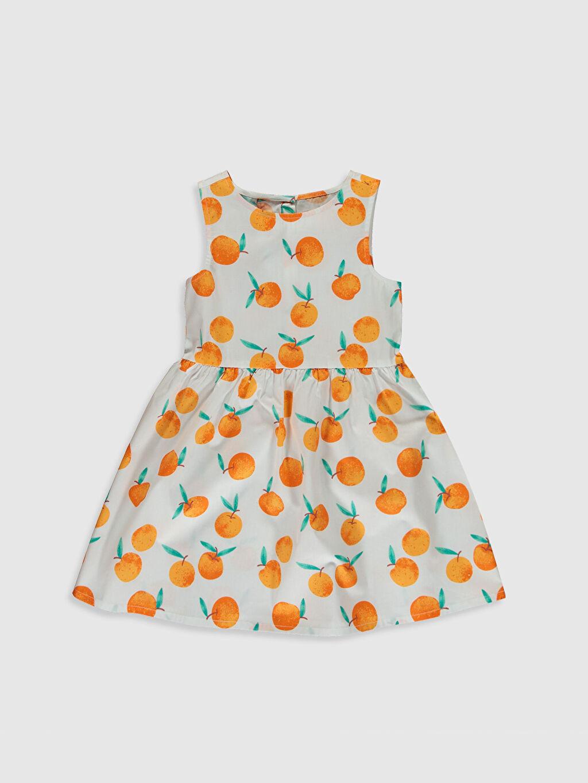 Beyaz Kız Çocuk Baskılı Poplin Elbise 0S2440Z4 LC Waikiki