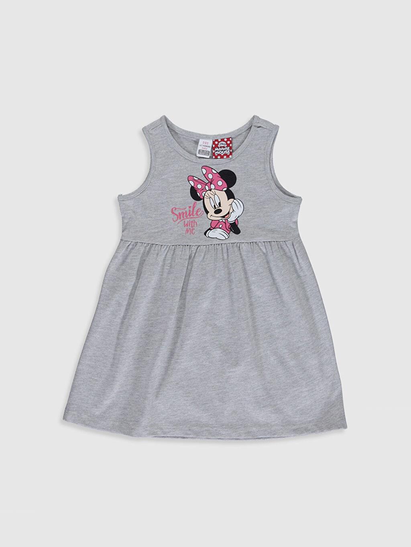 Gri Kız Bebek Minnie Mouse Baskılı Elbise 0S2468Z1 LC Waikiki