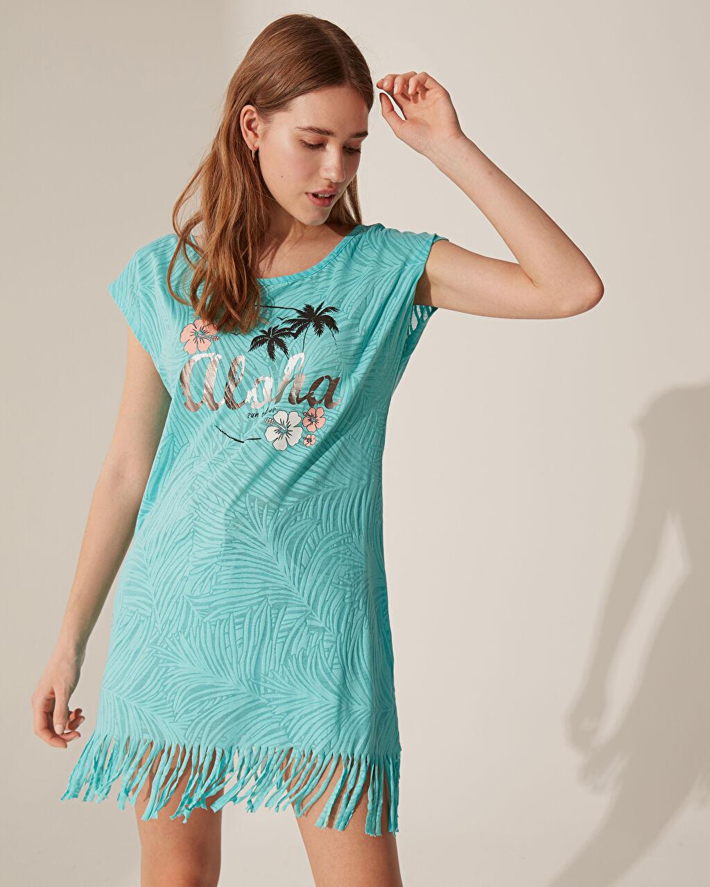 Turkuaz Püsküllü Yazı Baskılı Plaj Elbise 0S2841Z8 LC Waikiki