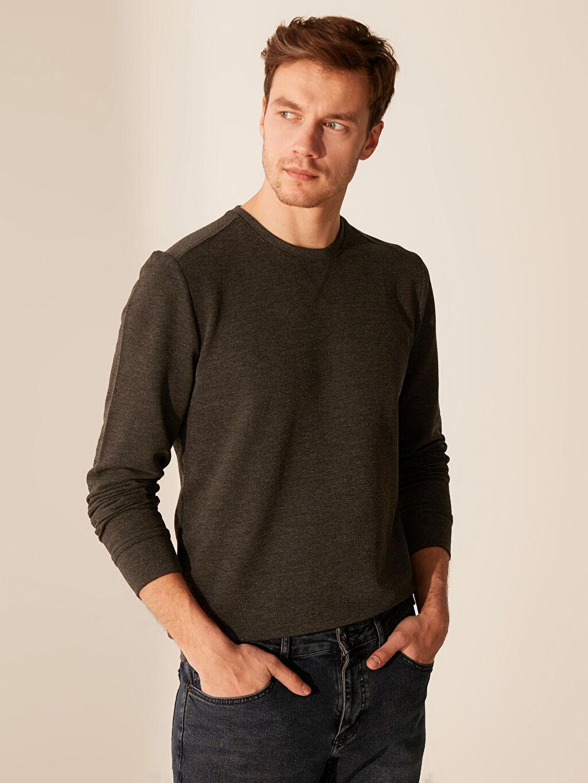 %61 Pamuk %39 Polyester İnce Sweatshirt Kumaşı Sweatshirt Bisiklet Yaka Uzun Kol Bisiklet Yaka Basic Sweatshirt