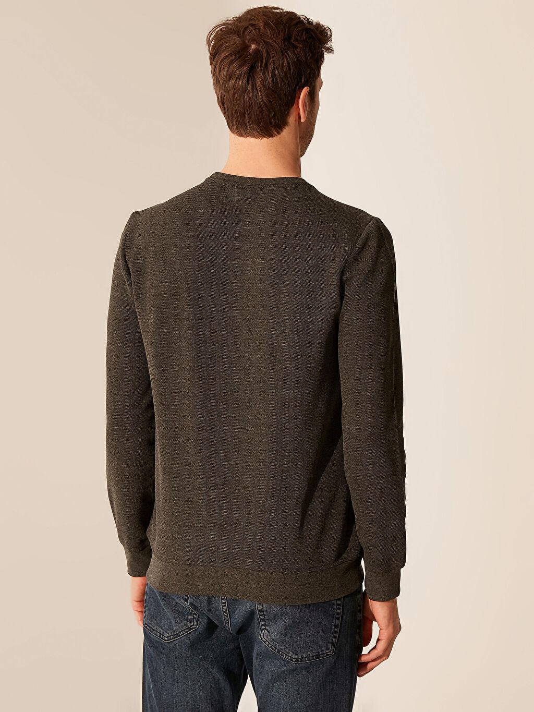 %61 Pamuk %39 Polyester Bisiklet Yaka Basic Sweatshirt