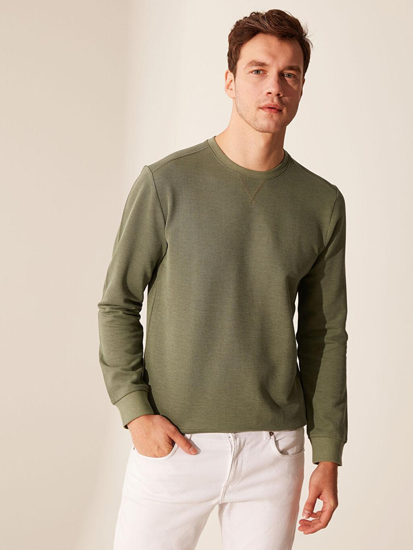%83 Pamuk %17 Polyester İnce Sweatshirt Kumaşı Sweatshirt Bisiklet Yaka Uzun Kol Bisiklet Yaka Basic Sweatshirt