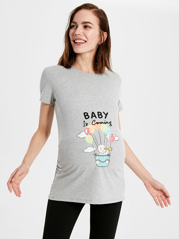Kadın Baskılı Hamile Tişört