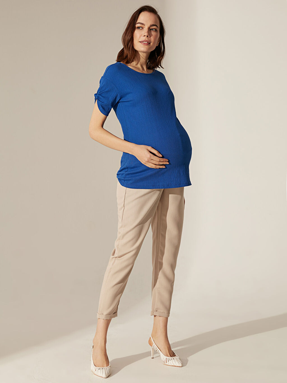 %46 Polyester %54 Viskoz Düz Günlük Orta Kalınlık Pantolon Sigaret Hamile Cigarette Pantolon