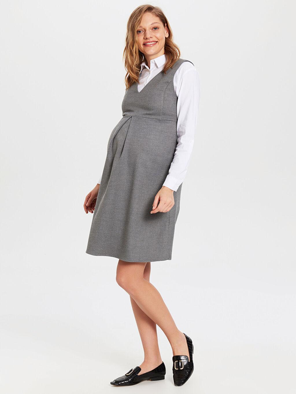 %64 Polyester %2 Elastan %34 Viskon Kalın Elbise Ofis/Klasik Geniş Paça Düz Astarsız V Yaka Kısa Kol Diz Üstü Hamile V Yaka Elbise