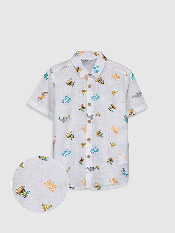 Beyaz Erkek Çocuk Desenli Gömlek 0S5244Z4 LC Waikiki