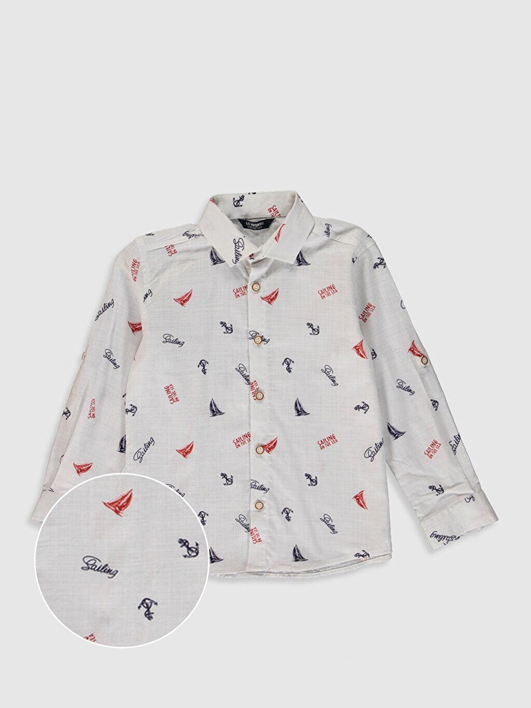 Beyaz Erkek Çocuk Desenli Gömlek 0S5251Z4 LC Waikiki