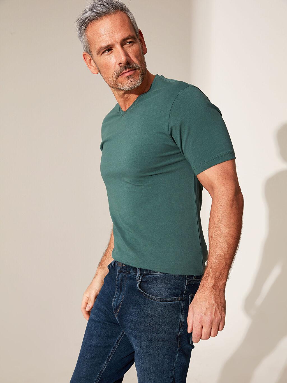 %96 Pamuk %4 Elastan İnce Dar Tişört V Yaka Kısa Kol Düz Penye V Yaka Kısa Kollu Pamuklu Tişört