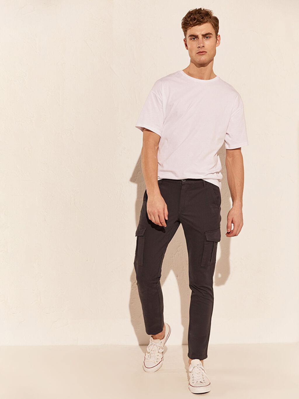 %97 Pamuk %3 Elastan Kargo Normal Bel Dar Pantolon Düz Standart Gabardin Yüksek Pamuk İçerir Slim Fit Gabardin Kargo Pantolon