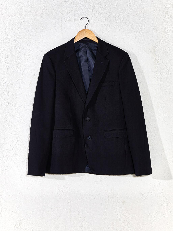 Düz Dar İnce Uzun Kol Blazer Ceket Astarlı Dar Kalıp Takım Elbise