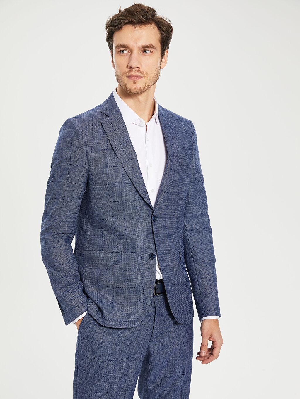 %66 Polyester %2 Elastan %32 Viskon %100 Polyester Uzun Kol İnce Ekose Dar Blazer Ceket Astarlı Dar Kalıp Takım Elbise Ceketi