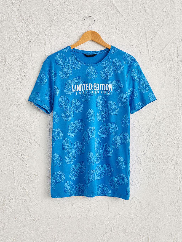 Mavi Bisiklet Yaka Desenli Tişört 0S7962Z8 LC Waikiki
