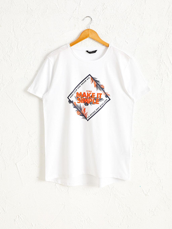 Beyaz Bisiklet Yaka Baskılı Penye Tişört 0S7968Z8 LC Waikiki