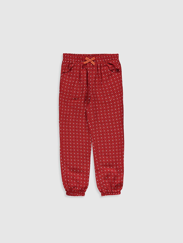 Mercan Kız Çocuk Desenli Viskon Pantolon 0S8260Z4 LC Waikiki