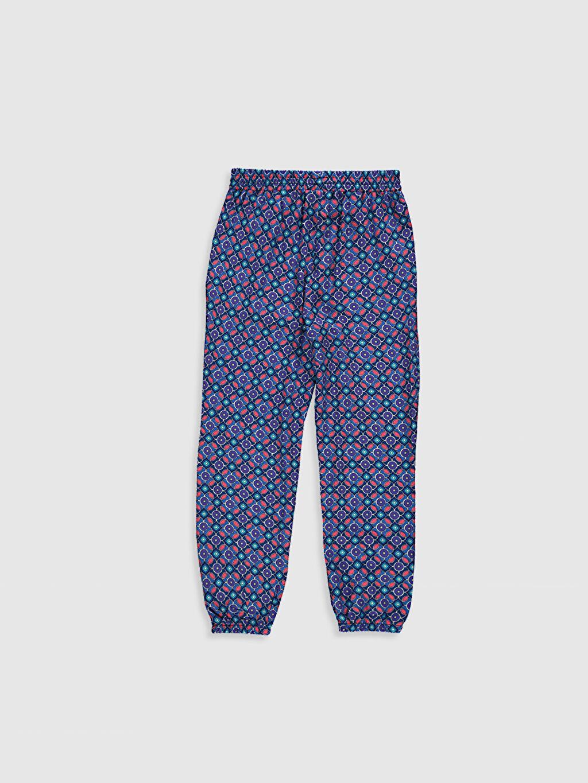 %100 Viskoz İnce Standart Standart Baskılı Normal Bel Pantolon Kız Çocuk Desenli Viskon Pantolon