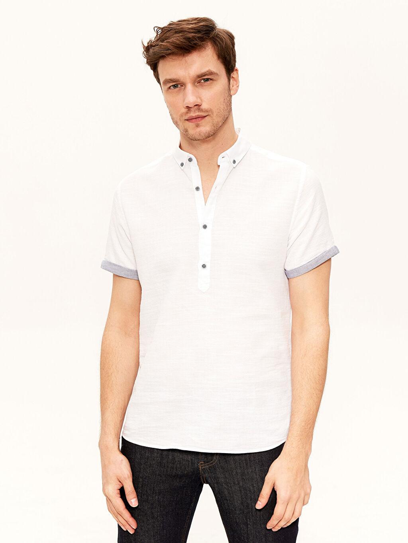 %100 Pamuk İnce Gömlek Dar Kısa Kol Düz Yarım Pat Düğmeli Gömlek Yaka %100 Pamuk Slim Fit Kısa Kollu Armürlü Gömlek
