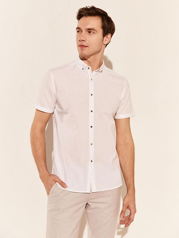 Beyaz Slim Fit Kısa Kollu Gömlek 0S8293Z8 LC Waikiki