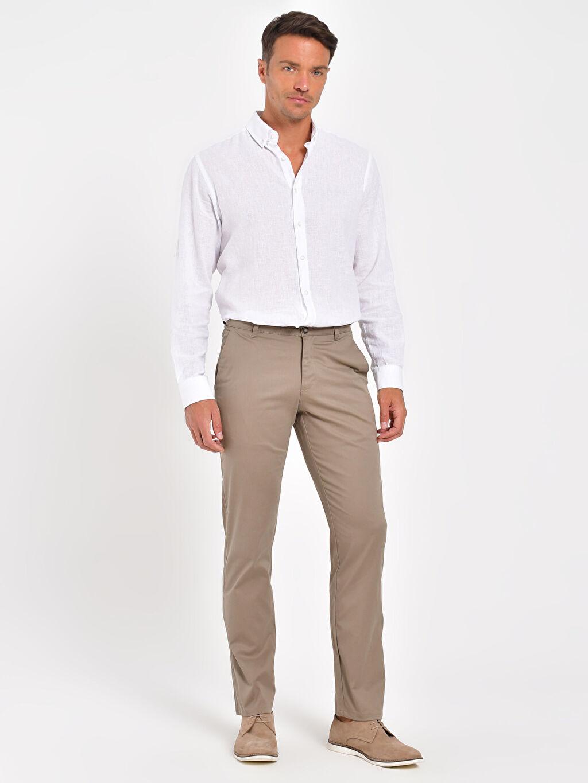 %97 Pamuk %3 Elastan Chino Pantolon Düz İnce Gabardin Normal Kalıp Gabardin Chino Pantolon