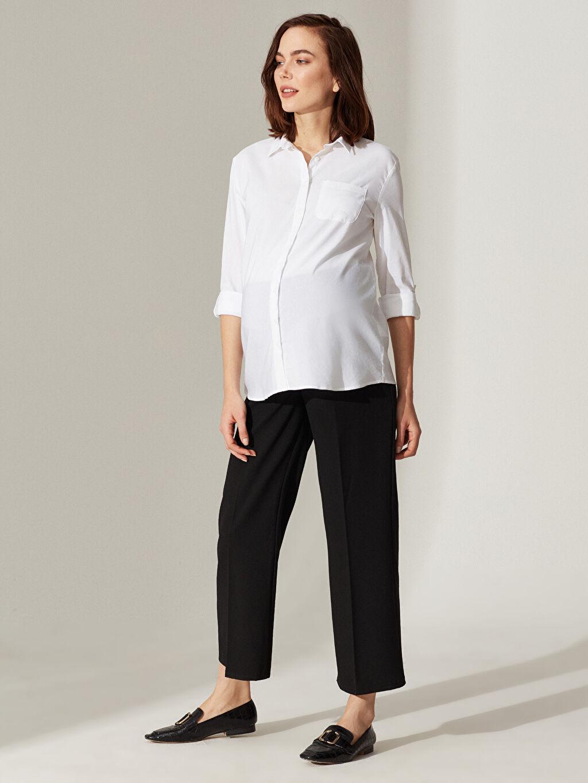 %63 Polyester %32 Viskoz %5 Elastan Günlük Orta Kalınlık Pantolon Geniş Paça Düz Hamile Belmando Pantolon