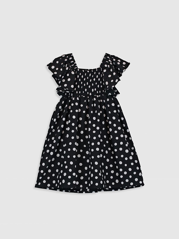 %100 Pamuk Midi Poplin %100 Pamuk Elbise İnce Baskılı Kısa Kol Kız Çocuk Puantiyeli Elbise