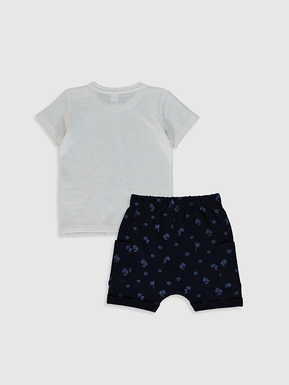 %100 Pamuk %86 Pamuk %14 Polyester Kısa Kol Şık Düz Takım Penye Aksesuarsız Standart İnce %100 Pamuk Erkek Bebek Baskılı Pamuklu Takım 2'li