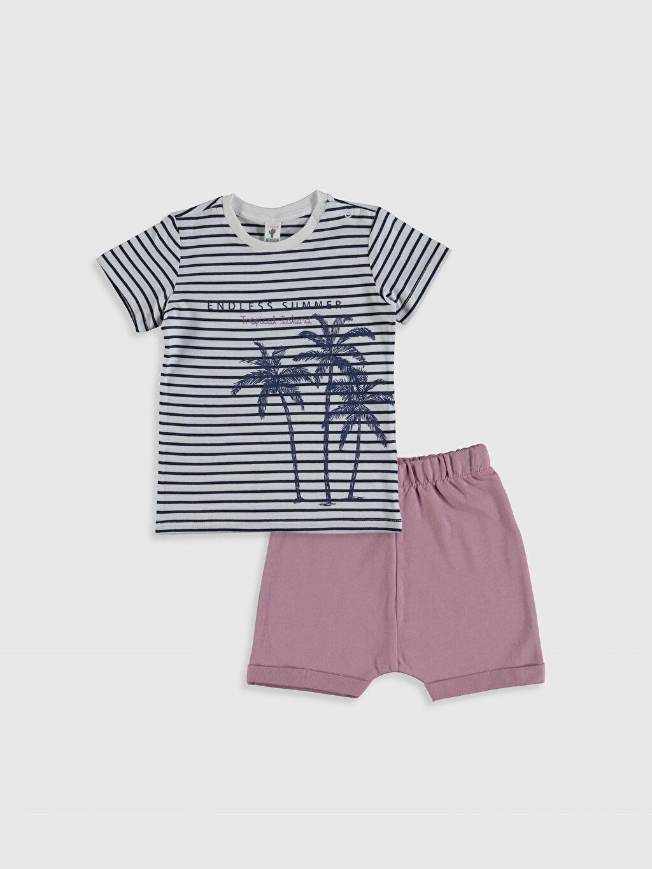 Mavi Erkek Bebek Pamuklu Baskılı Tişört ve Şort 0SH928Z1 LC Waikiki