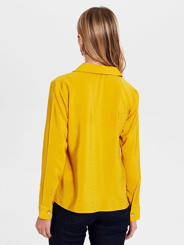 %14 Poliamid %86 Viskon İnce Gömlek Gömlek Standart Tam Pat Uzun Kol Düz Standart Dokulu Kumaştan Gömlek