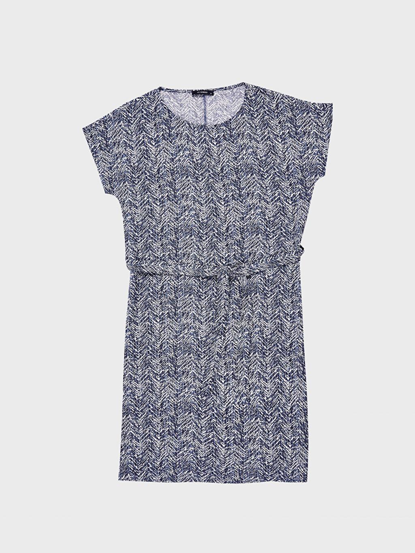 %100 Viskoz Kısa Kol Oversize Kısa Ofis/Klasik Standart Baskılı Astarsız Elbise İnce Desenli Kuşaklı Viskon Elbise