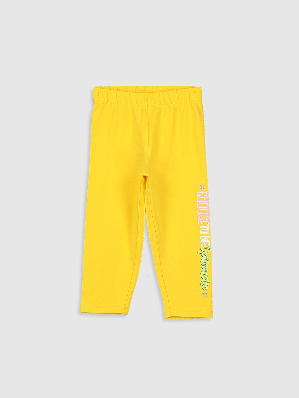 Sarı Kız Çocuk Baskılı Pamuklu Tayt 0SM246Z4 LC Waikiki