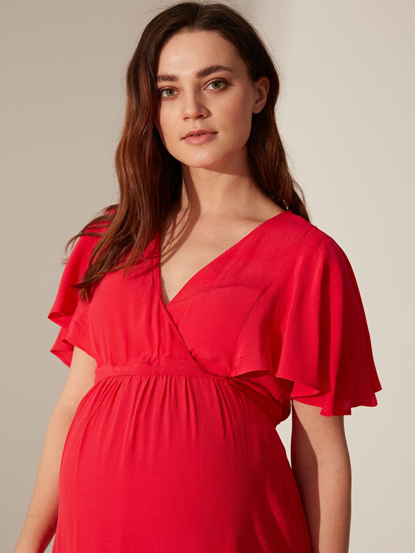 Kadın Kolları Volanlı Uzun Viskon Hamile Elbisesi